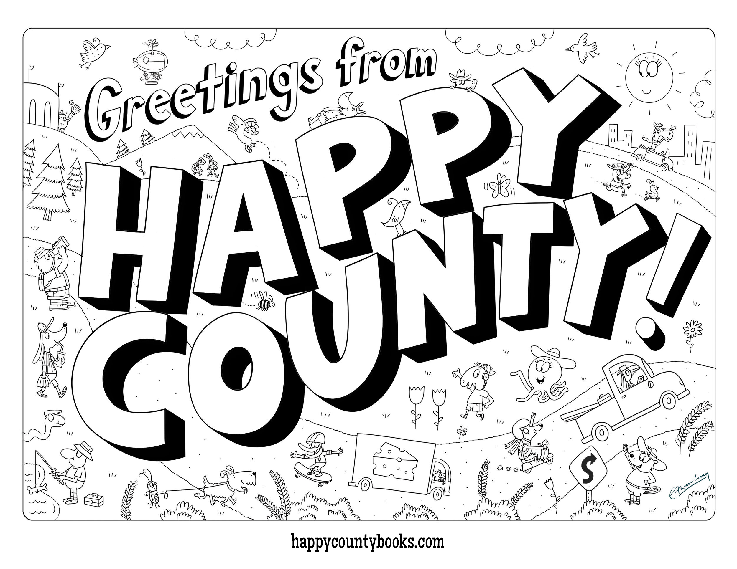 happy county coloring page