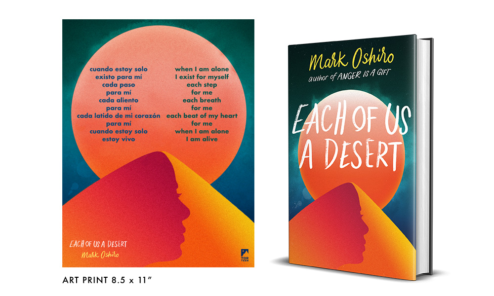 Each of Us a Desert by Mark Oshiro beside a promotional print featuring a poem in Spanish and its English translation