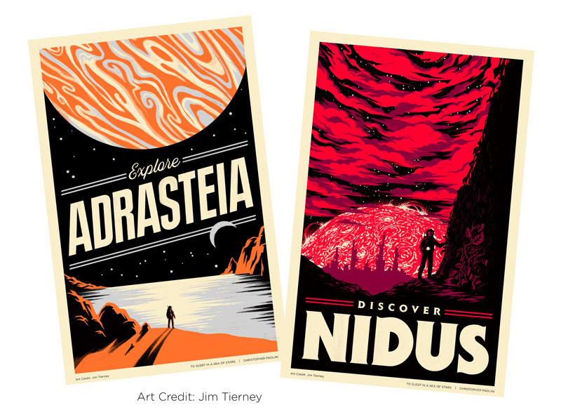 Paolini To Sleep in a Sea of Stars Adrasteia and Nidus Posters